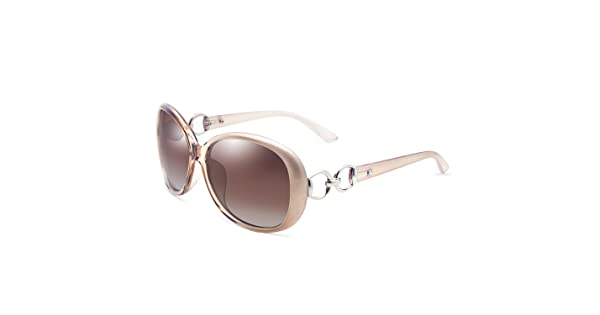 becdee362e9d VeBrellen Luxury Women Polarized Sunglasses Retro Eyewear Oversized Goggles  Eyeglasses (Champagne Frame With Brown Lens