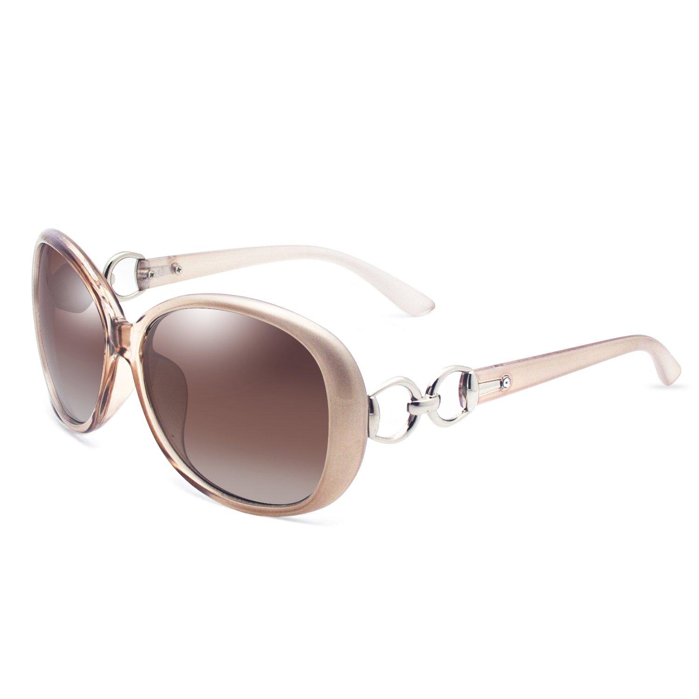VeBrellen Luxury Women Polarized Sunglasses Retro Eyewear Oversized Goggles Eyeglasses (Champagne Frame With Brown Lens, 60)