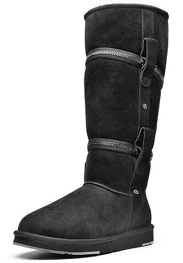 AUMU Unisex Short Sheepskin Snow Boots With Zipper …