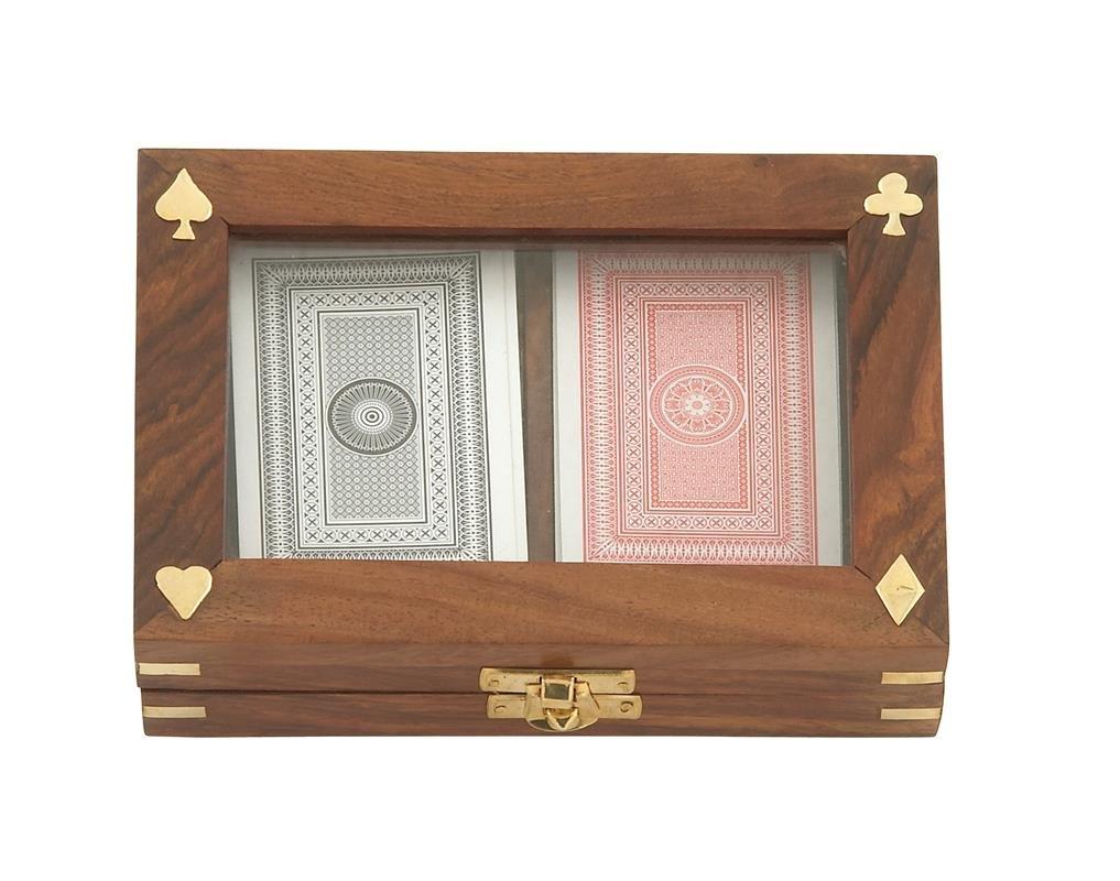 7 by 2 2 H-28487 Deco 79 Wood Brass Glass Card Box 7 W