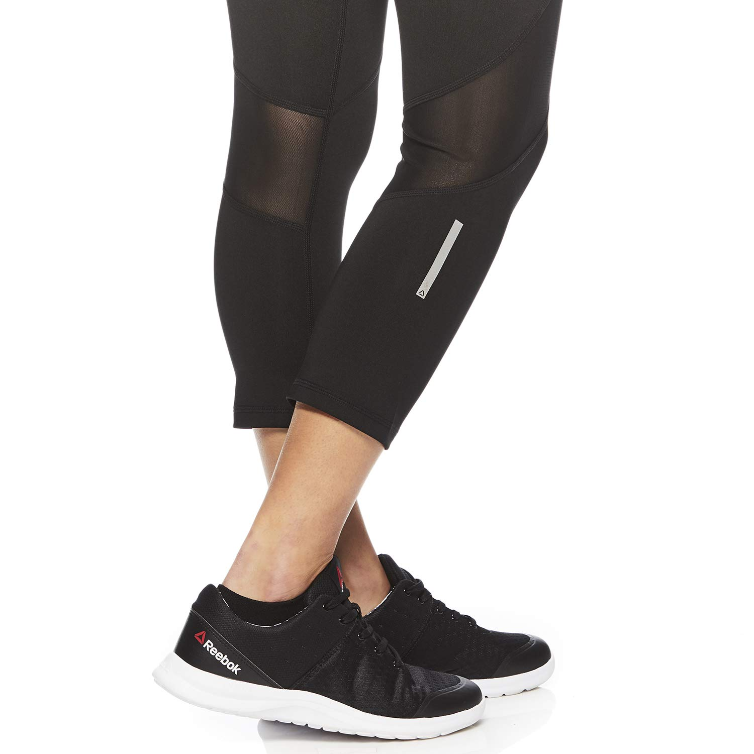 Reebok Womens Printed Capri Leggings With Mid-Rise Waist Performance Compression Tights