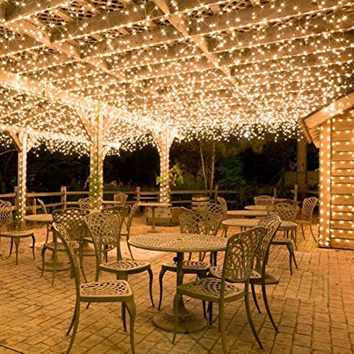 36ft 100 LED BatteryOperatedStringLightswithTimer on 11M Outdoor Clear String Lights(8 Modes, IP65 Waterproof, Dimmable, Warm White) by Koopower (Image #4)