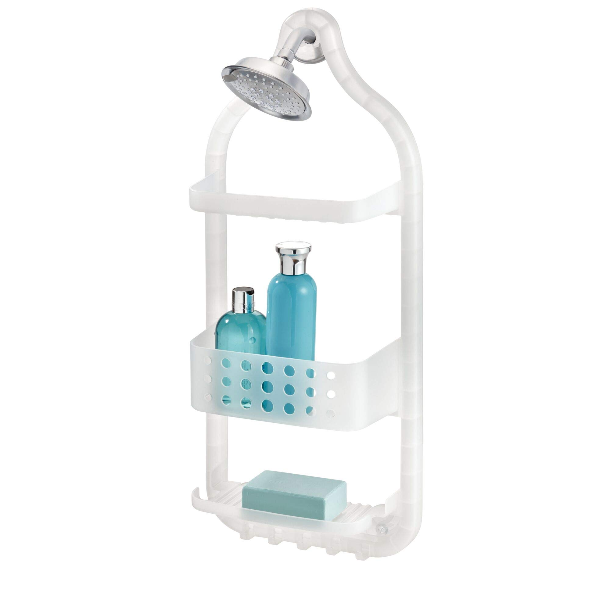 InterDesign Circlz Plastic Hanging Shower Caddy, Extra Space for Shampoo, Conditioner, and Soap with Hooks for Razors, Towels, Loofahs, and More 5'' x 10.6'' x 26'' Frost White