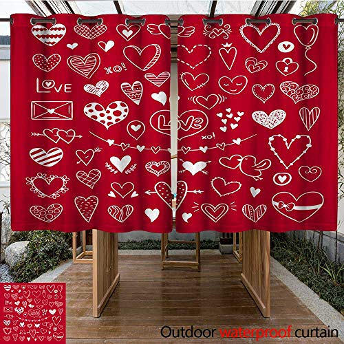 RenteriaDecor Outdoor Curtains for Patio Waterproof Hand Drawn Hearts Illustrations for Valentine s Day and Weddings Cute Love Clipart W63 x L72 ()