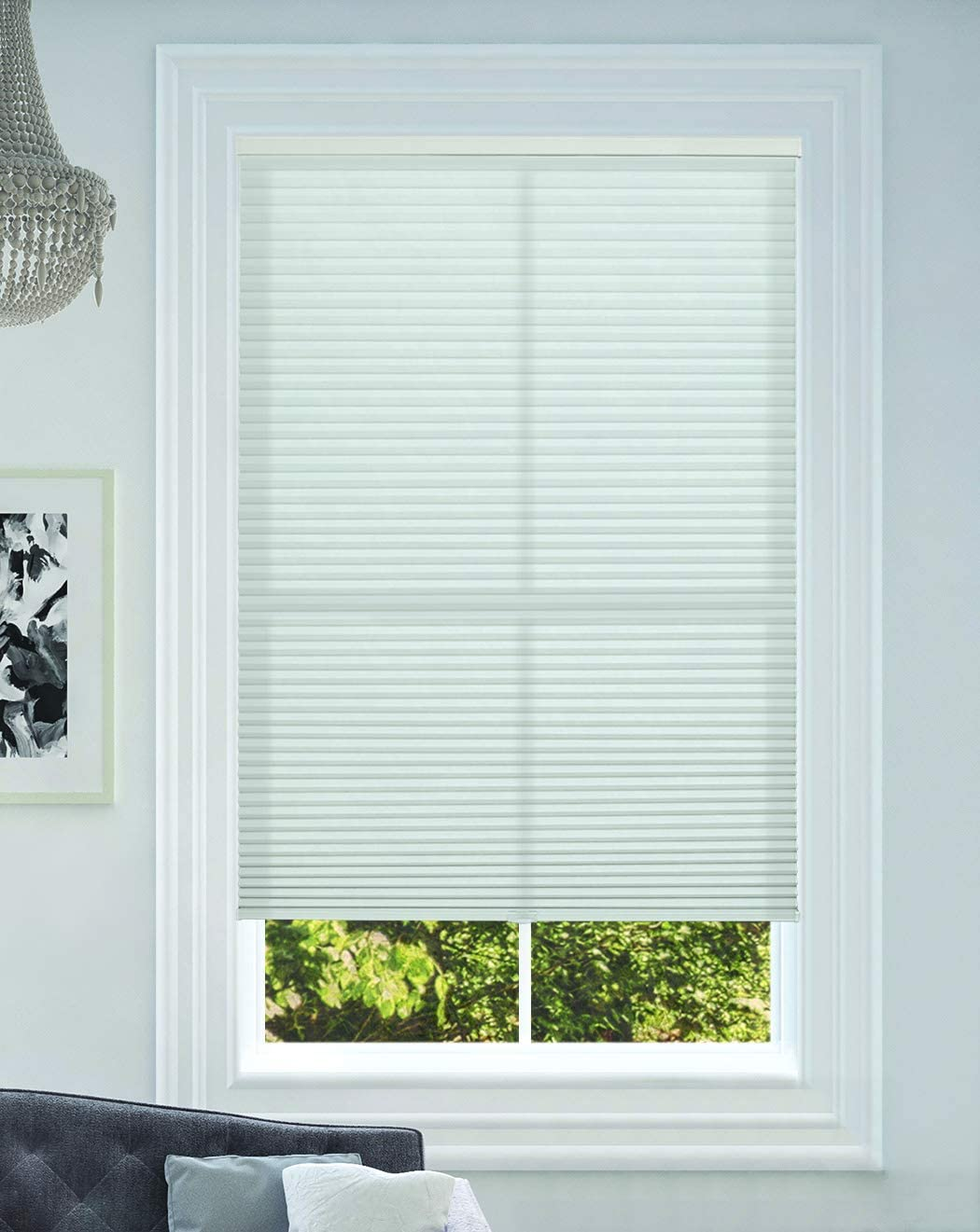 Light Filtering Size: 34 W x 48 H White BlindsAvenue Cellular Honeycomb Cordless Shade 9//16 Single Cell