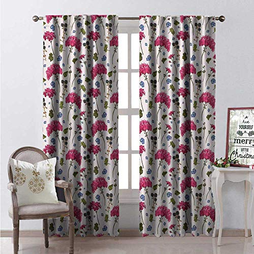 (Hengshu Geranium Waterproof Window Curtain Wild Botanical Herbs BlackBerry Harvest Blooming Flora Print Decorative Curtains for Living Room W72 x L84 Olive Green Violet Blue Magenta)