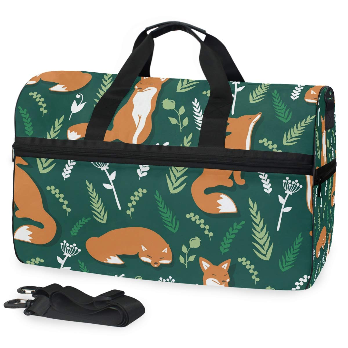 Travel Duffel Bag Foxes And Flowers Floral Waterproof Lightweight Luggage bag for Sports Gym Vacation