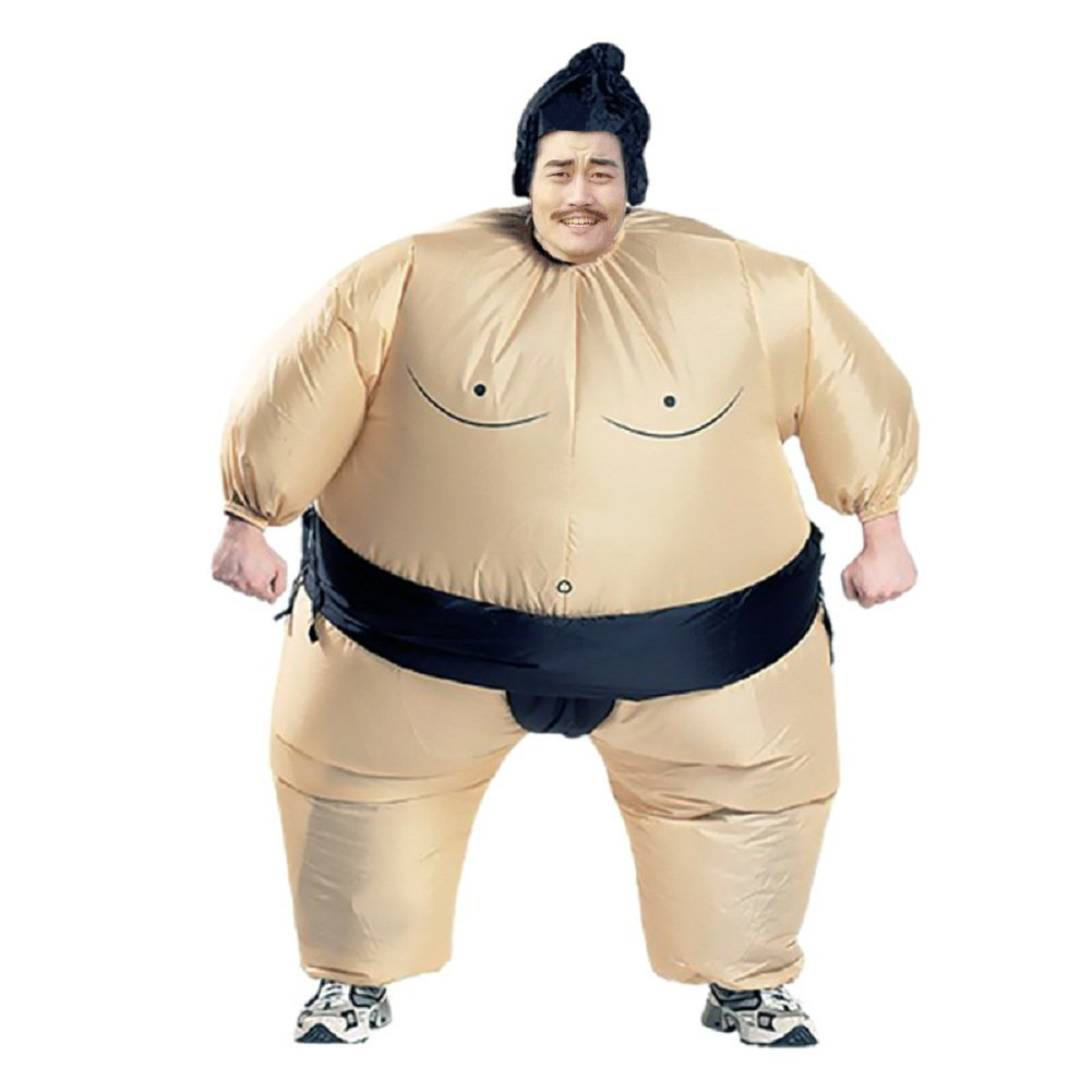 BIGPETS Inflatable Sumo Wrestling Fat Suit Blow up Fancy Dress Funny Costume Halloween (Sumo for Adult)