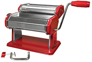 Weston Manual Pasta Machine, 6-Inch, Red (01-0221-K), Heavy Duty Construction, Adjustable Rollers