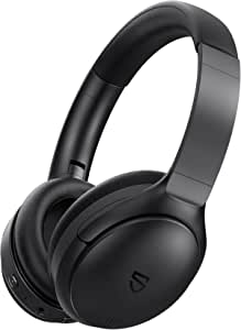 Bluetooth Headphones, SoundPEATS A6 Hybrid Active Noise Cancelling Headphones Bluetooth Earphones New Over Ear Headphones, 40 Hours Playtime(ANC Off), USB-C Quick Charge, Foldable Design with Ergonomic Headband, Memory Foam Earcups, Multi-point Rotation