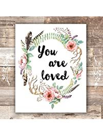 You Are Loved Floral Wreath Art Print - Unframed - 8x10