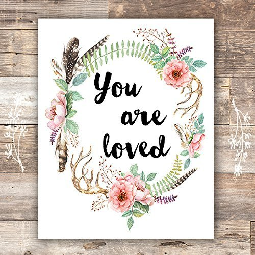 Baby Girl Wall Art - You Are Loved Floral Wreath Art Print - Unframed - 8x10