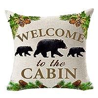 Andreannie Retro Fondo Vintage Fauna silvestre Familia de osos negros Bienvenido a la cabina Lino de algodón Funda de almohada Funda de cojín personalizada Nueva oficina decorativa decorativa en el hogar 18 x 18 pulgadas