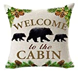 Retro Vintage Background Wildlife Black Bear Family Welcome To The Cabin Cotton Linen Throw Pillowcase Personalized Cushion Cover NEW Home Office Decorative Square 18 X 18 Inches
