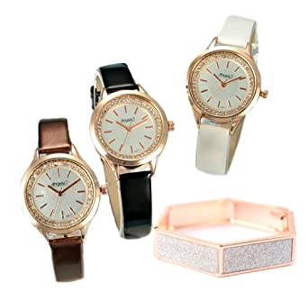 Amazon.com: Conjunto de Reloj de pulsera para mujer acero ...