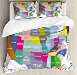 Map Bedding Duvet Cover Sets for Children/Adults/Kids/Teens Twin Size, USA Map with Name of States in America Geography Cartography Theme, Hotel Luxury Decorative 4pcs Set, Multicolor