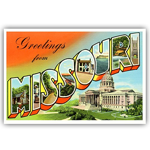 Missouri Postcard - GREETINGS FROM MISSOURI vintage reprint postcard set of 20 identical postcards. Large letter US state name post card pack (ca. 1930's-1940's). Made in USA.