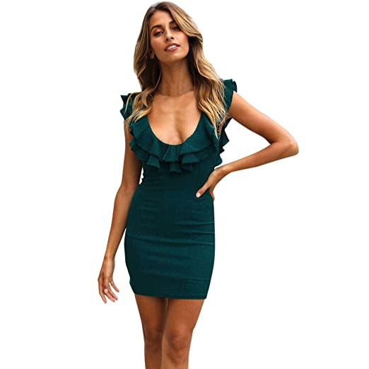 Womens Ruffles Solid Color Sexy Low Neck Bodycon Short Mini Dresses Casual Summer Party Cocktail Dresses