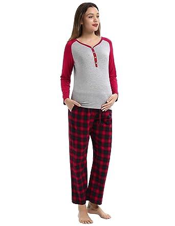 3f5cdd95cb06a Women Soft Maternity & Nursing Pajama Set Long Sleeve Pregnancy Sleepwear
