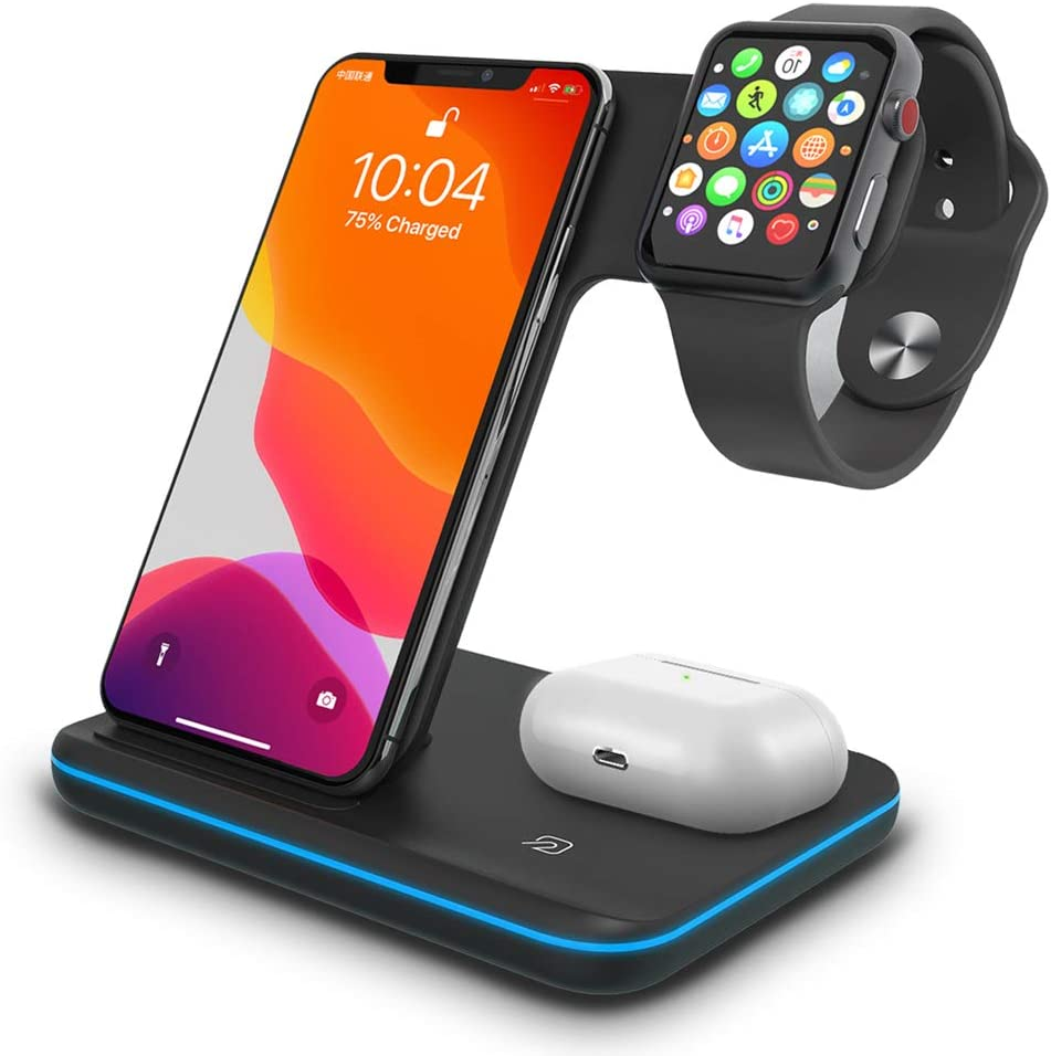 Wireless Charging Station, TPLISAK 3 in 1 Qi-Certified 15W Fast Wireless Charger for Apple Watch iWatch Series 6/SE/5/4/3/2/1,AirPods 2/Pro, Compatible with iPhone 11 Series/XS MAX/XR/XS/X/8/8 Plus