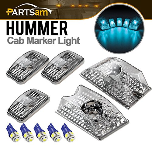 (Partsam 5PCS 264160CL Clear Cover Cab Marker Top Crystal Chrome Lights + 5PCS Ice Blue 5050 194 W5W T10 LED Bulbs Compatible with Hummer H2 SUV SUT 2003 2004 2005)