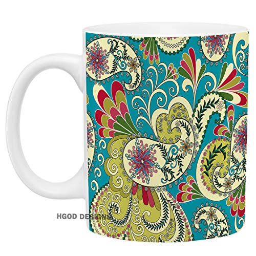 HGOD DESIGNS Funny Light Yellow Paisley Coffee Mug Paisley With Leaves And Flowers On A Light Green Background Coffee/Tea Mug For Women Men-Birthday Gift,Valentina's Gift,Christmas Gift 11oz White Cup