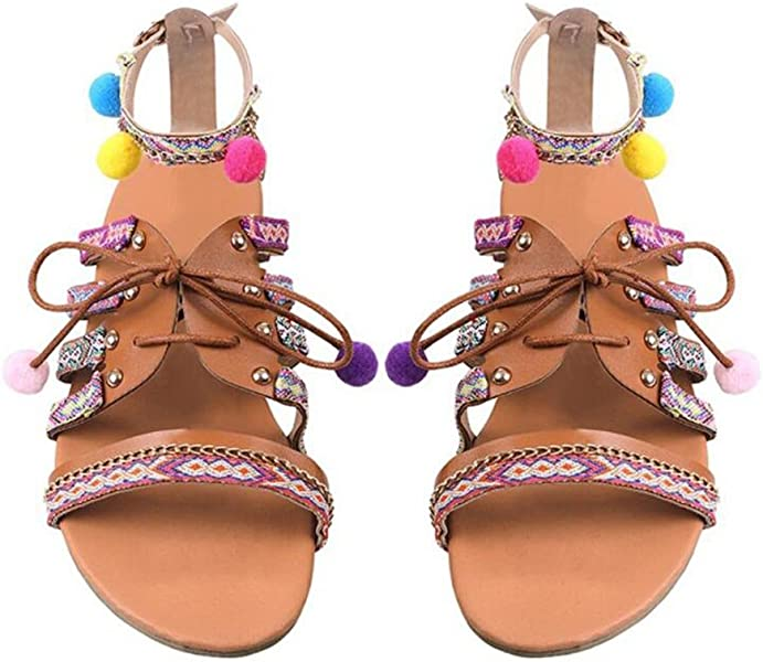 5dc4e849fa7 Women Multicolor Bohemia Embroidery Lace up Flats Gladiator Sandal Pom-Pom  Sandals Flip Flops