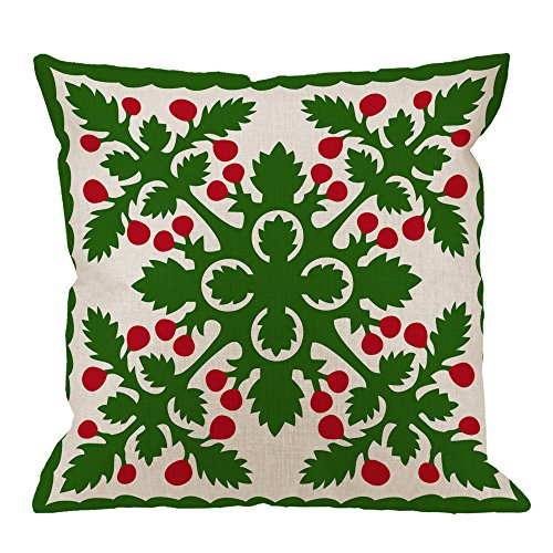 HGOD DESIGNS Hawaiian Quilt Pillow Covers,Decorative Throw Pillow Retro Tropical Leaf Hawaiian Quilt Pillow cases Cotton Linen Outdoor Indoor Square Cushion Covers For Home Sofa couch 18x18 inch