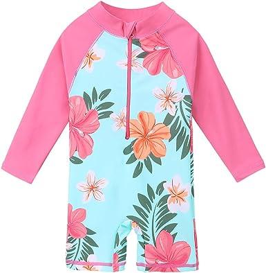 ZNYUNE Girls One Piece Rashguard Swimwear Long Sleeve Swim Suit with Zipper UPF 50 Sun Protection