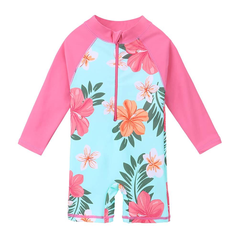 ZNYUNE Girls Rash Guard Swimsuit Kids One Piece Long Sleeve Rash Guard Shirts Quick-Dry Bathing Suit