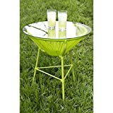 Beautiful GREEN Modern and Sleek Indoor/Outdoor Patio Table with Removable Glass Top