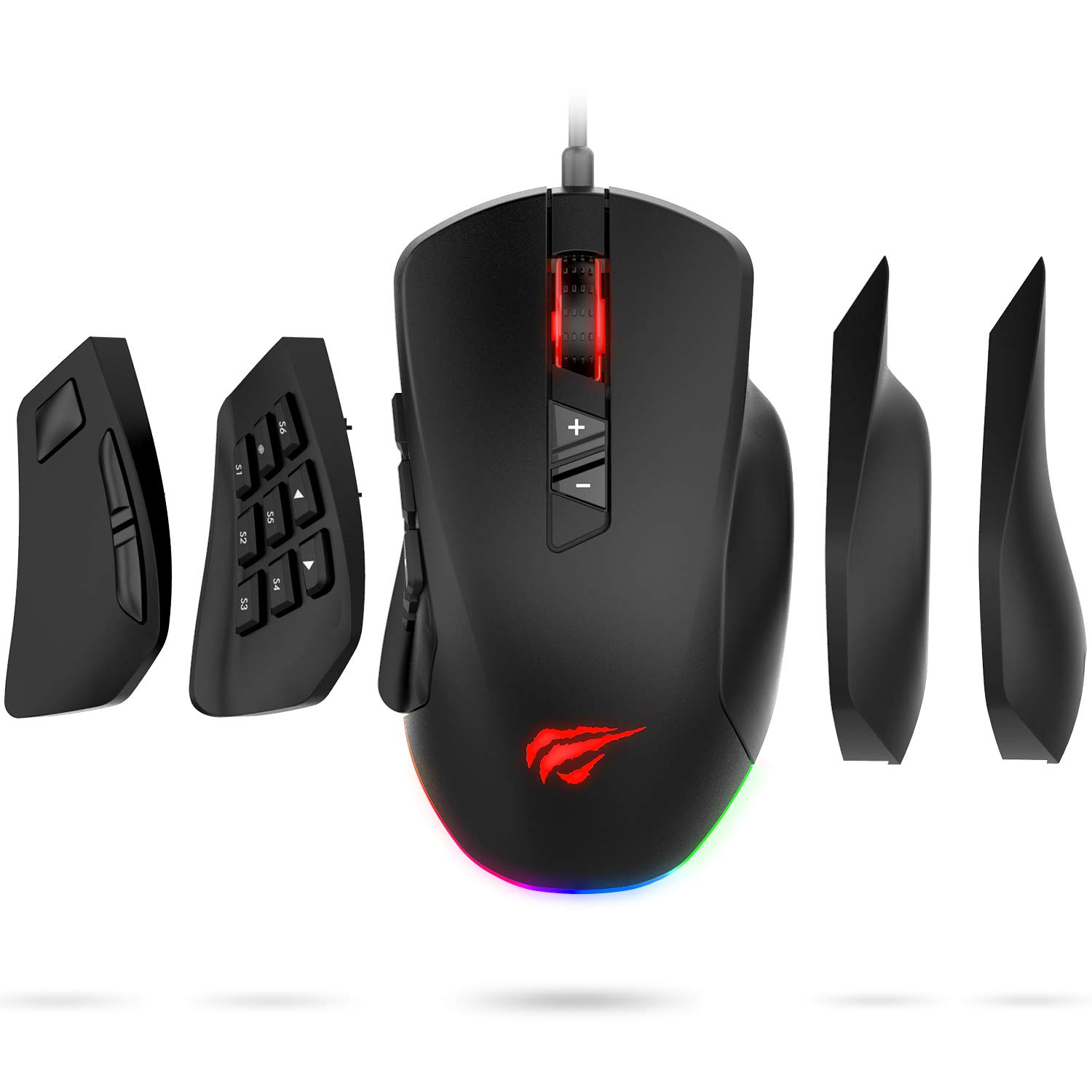 Havit Gaming Mouse 12000 DPI Computer Ergonomic Wired Mice with 14 Programmable Buttons Interchangeable Side Plates 8 Buttons 8 6 Side Buttons , 2 Replaceable Right Plates for Laptop PC Gamer