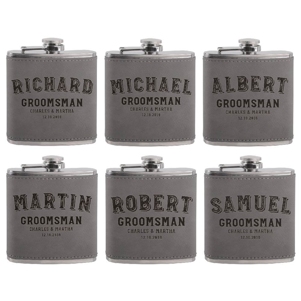 Set of 6 - Personalized Groomsmen Flasks, Groomsmen Gifts | 6oz Leatherette Personalized Flask for Liquor w Optional Gift Box - Personalized Groomsman Proposal Gifts | Wedding Favor #2 ASH