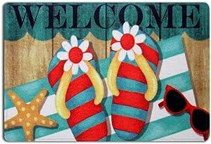 SUN-Shine Fantastic Welcome Entrance Doormats Bath Rug Floor Indoor Floor Door Mat-Colorful Flip Flops Starfish Beach Theme(15.7x23.6in)