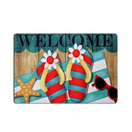 398b96295 Amazon.com  FunkyHome Flip Flops Welcome Door Mat