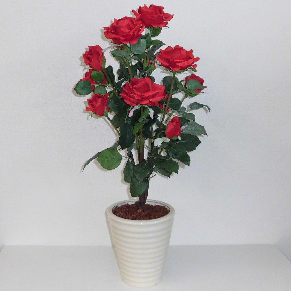 バラの鉢植え 光触媒造花 リアル ローズ / 1本立ち H80cm(赤 /白鉢) B00LKE3O9Y