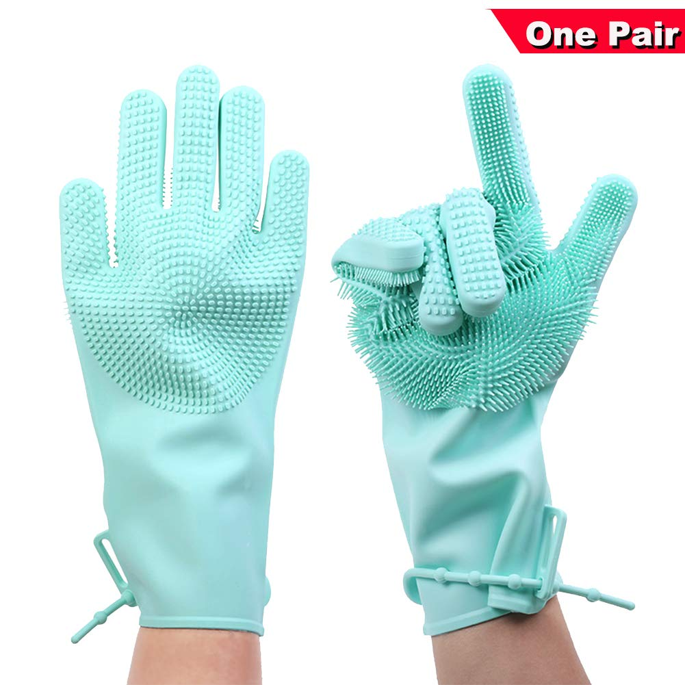 Upgraded Scrub Magic Silicone Cleaning Gloves,HIDOU Reusable Dishwashing Gloves with Scrubber for Brush Bowl,Kitchen,Bathroom,Car,Pet Grooming Pink