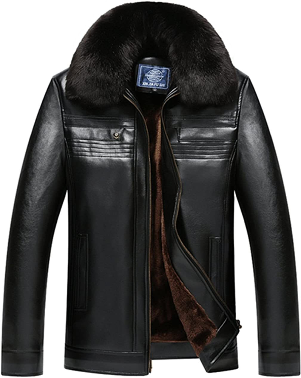 K3K New Winter Mens PU Leather Warm Coat Faux Fur Lined Leather Long Jacket
