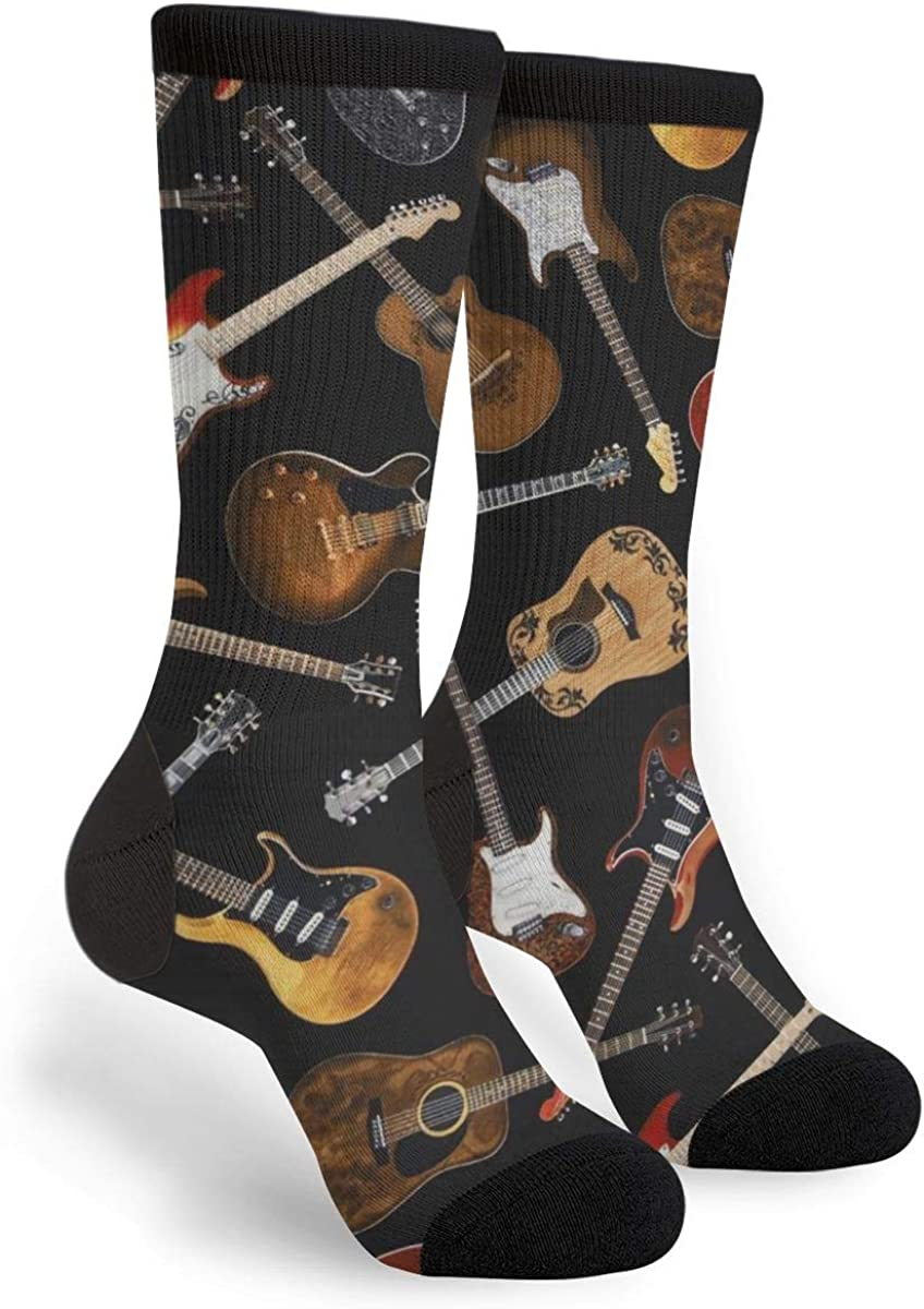 Guitars Black Casual Cool 3D Printed Crazy Funny Colorful Fancy Novelty Graphic Crew Tube Socks