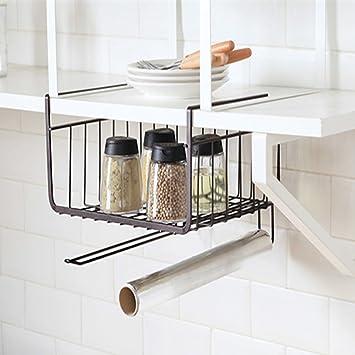 pingxia bajo estante de almacenamiento cesta Durable armario Rack Estante con gancho para colgar multifuncional pequeño cesta de almacenamiento para cocina ...