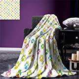 smallbeefly Dog Lover Lightweight Blanket Animal Footprint Colorful Abstract Puppy Paws Grunge Elements Paintbrush Effect Digital Printing Blanket Multicolor
