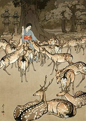 (Japanese Art Print - Deer in Kasuga by Yoshida Hiroshi)