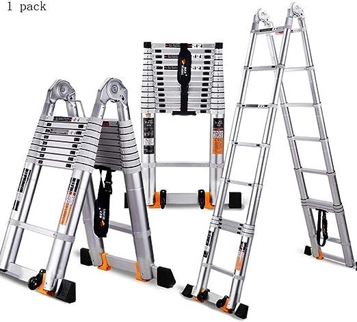 JGWJJ Escalera de extensión telescópica de Aluminio de 3.8M Escalera telescópica de usos múltiples Capacidad de 330 Libras (Tamaño : 2.6M): Amazon.es: Hogar