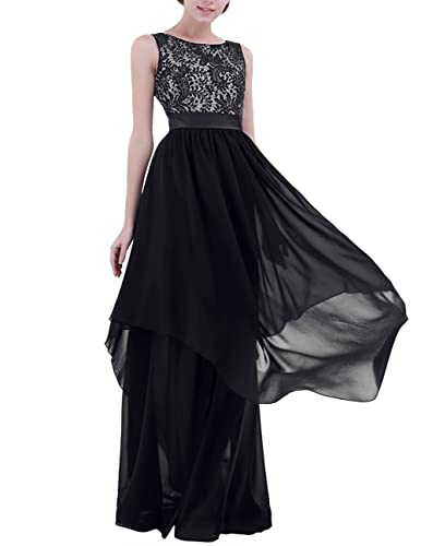 YiZYiF Women's Elegant Sleeveless V-Back Black Lace Bridesmaid Maxi Long Dress
