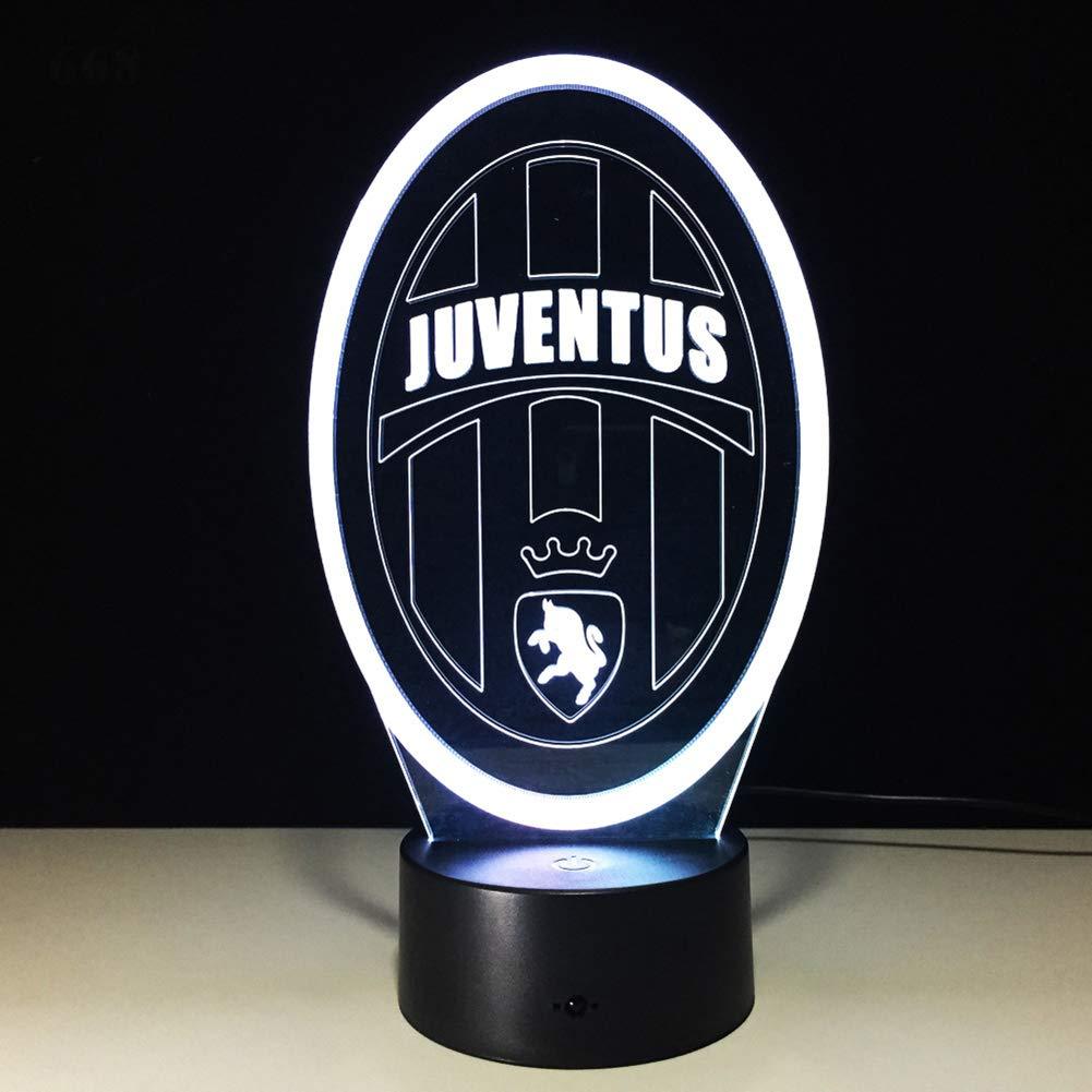 SXMXO 7 Colori cambiano Calcio Club Innovativo 3D Luce Notturna a LED per lItalia Juventus Club LED Touch Lampada novit/à Regalo Lampada USB,5color+Sound