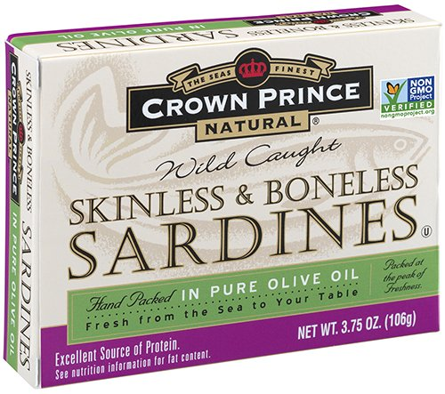 - Crown Prince Natural Skinless & Boneless Sardines in Pure Olive Oil, 3.75-Ounce Cans (Pack of 12)