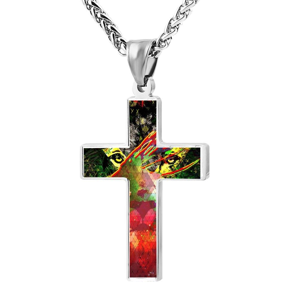 LUQeo Jamaica Rasta Lions Crucifix Necklace Christ Pendant Polished Religious Jewelry