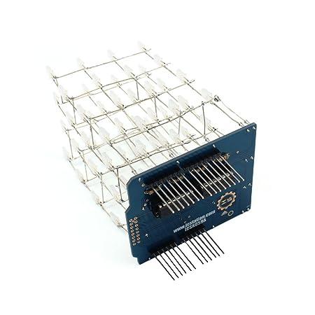 Sodial Blue 4x4x4 New 3d Light Cube Kit Uno Shield Led Diy Project