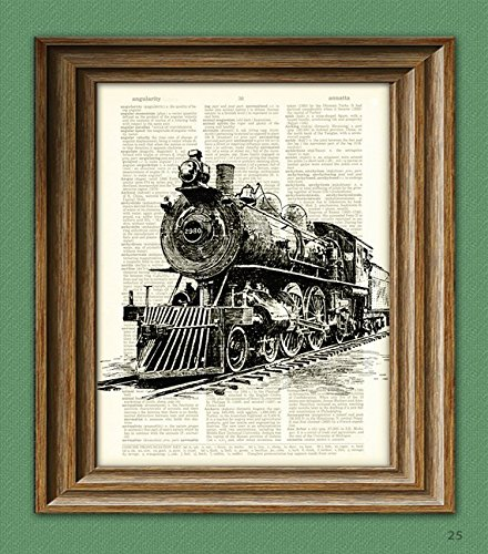 train-art-print-locomotive-train-steam-engine-beautifully-upcycled-vintage-dictionary-page-book-art-