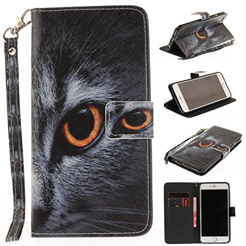 iPhone 6 Plus/6S Plus Flip Magnetic Leather Case [Free Screen Protector] KaseHom Half Face Cat Animals Painted Design Folio Wallet Case with [Card Slot] [Hand Strap] Slim Protective Cover -